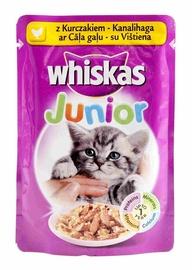 Konservuotas ėdalas katėms Whiskas Junior, su vištiena, 4 x 100 gr