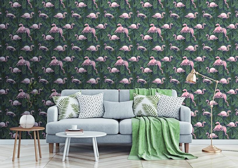 Flizelino pagrindo tapetas Ecodeco EE22533 antracito spalvos su flamingais