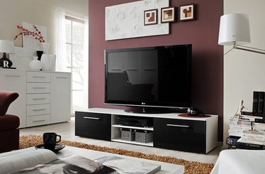 TV galds ASM Bono II White/Black Gloss, 1800x450x350 mm