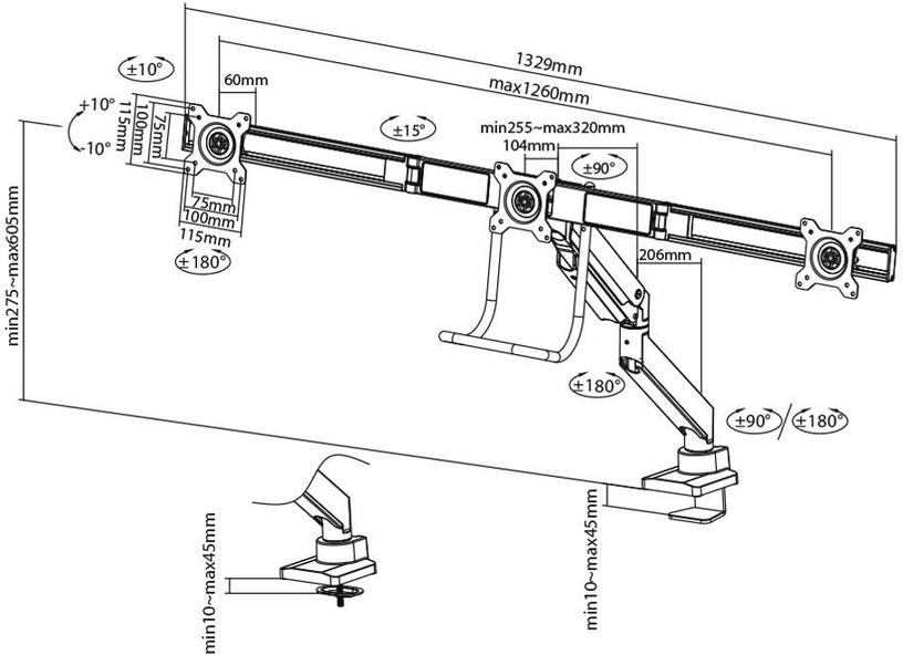 NewStar Flat Screen Desk Mount 17-24'' Black