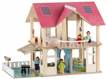 EcoToys Wooden Doll House with 4 Dolls 4103