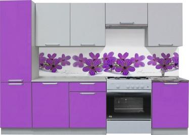 Virtuvės baldų komplektas MN Simpl Violet/White, 2.5 m