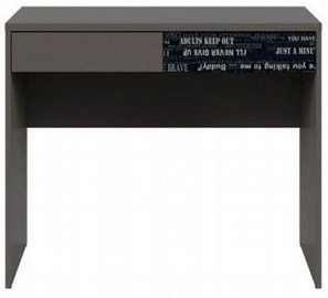Black Red White Graphic Desk Wolfram Grey