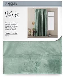 AmeliaHome Velvet Pleat Curtains Mint 140x245cm