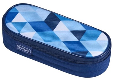 Pinal Herlitz Pencil Pouch Oval Blue Cubes