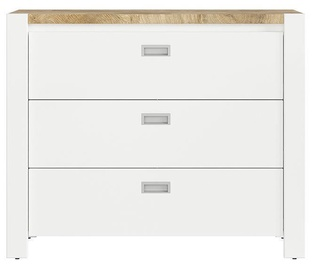 Black Red White Dreviso Baby Chest Of Drawers 112x92cm White/Oak