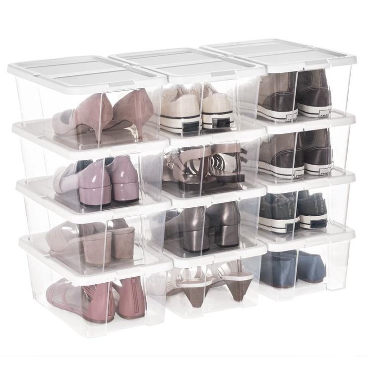 Songmics Plastic Shoe Box White 12pcs