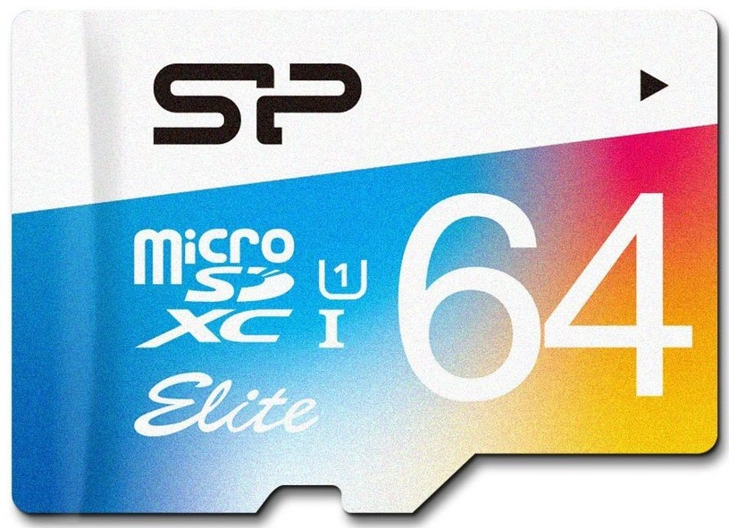 Silicon Power 64GB microSDXC Elite Colorful UHS-I Class 10 + SD Adapter