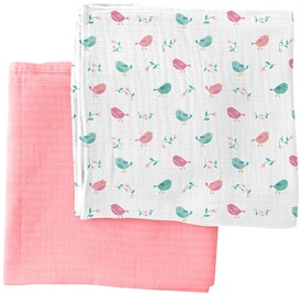 Summer Infant SwaddleMe Muslin Blankets 2pcs Birds Of A Feather Girl