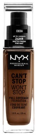 NYX Can't Stop Won't Stop Full Coverage Foundation 30ml Cocoa