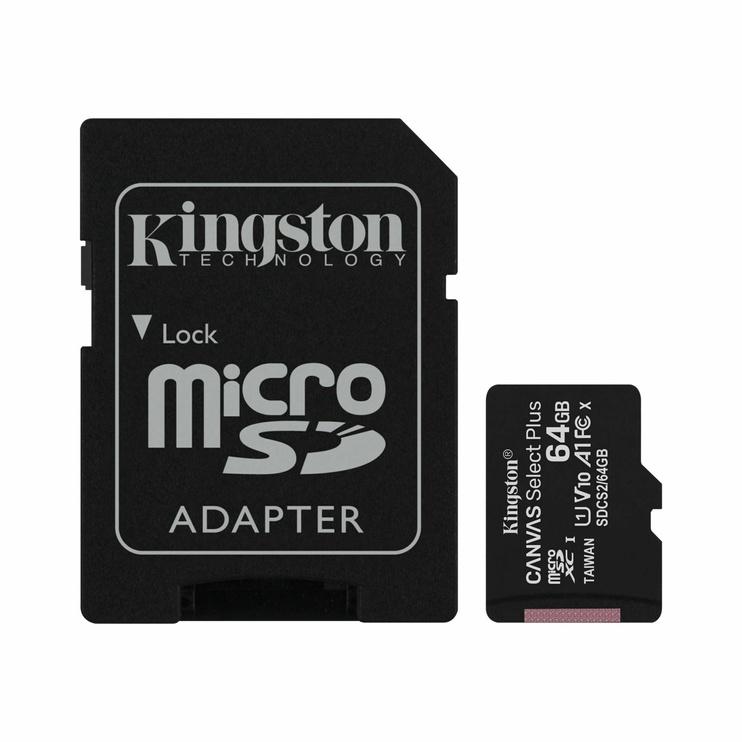 Atminties kortelė Kingston 64GB CL10 MicSDHC+adapteris