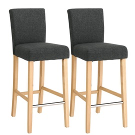 Songmics Wooden Bar Chair Dark Grey 2pcs
