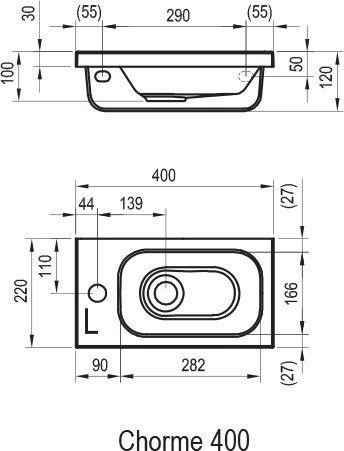 Mažas praustuvas Chrome 400 R baltas su skyle maišytuvui
