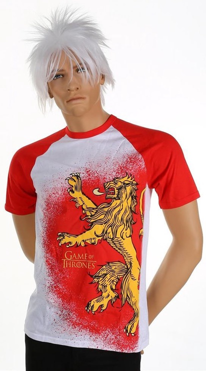 Licenced Game Of Throne Painted Lannister Raglan T-Shirt White/Red M