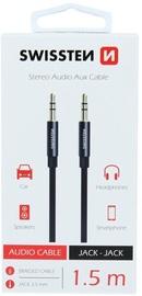 Провод Swissten Textile Premium AUX Cable 1.5m Black