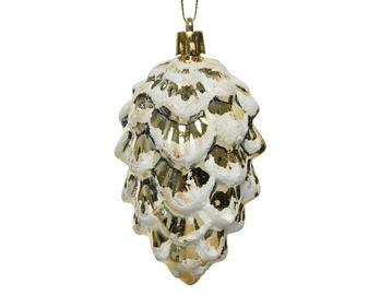 Eglutės žaisliukas Decoris Pine Cone 27560 Gold/White, 1 vnt.