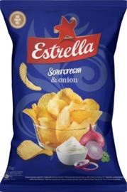 Bulvių traškučiai Estrella (grietinės ir svogūnų skonio), 130 g