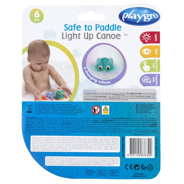 Игрушка для ванны Playgro Safe To Paddle Light Up Canoe 4087630