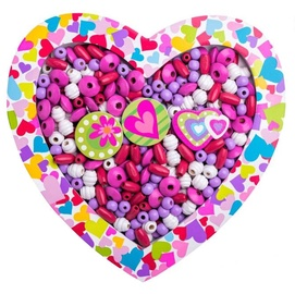 Apyrankių gaminimo rinkinys Woodyland Wooden Beads Heart Pink