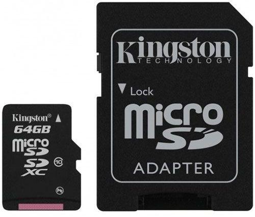 Kingston 64GB Micro SDXC Class 10 + Adapter