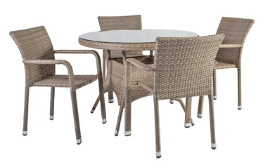 Home4you Larache K21209 Table And Four Chair Set Grey