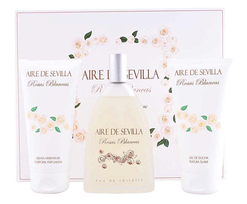 Набор для женщин Instituto Español Aire De Sevilla Rosas Blancas 150 ml EDT + 150 ml Body Cream + 150 ml Shower Gel