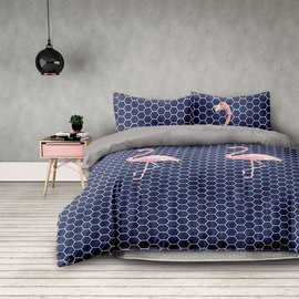 AmeliaHome Basic Flamingo Dark Bedding Set 200x220/80x80 2pcs