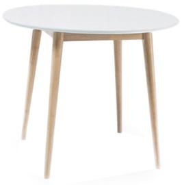 Pusdienu galds Signal Meble Scandinavian Larson, balta/ozola, 900x900x750mm