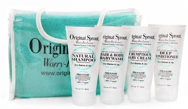 Original Sprout Deluxe Travel Kit Natural Shampoo 90ml + Hair & Body Babywash 90ml + Deep Conditioner 90ml + Scrumptious Baby Cream 90ml + Exfoliating Wash Cloth