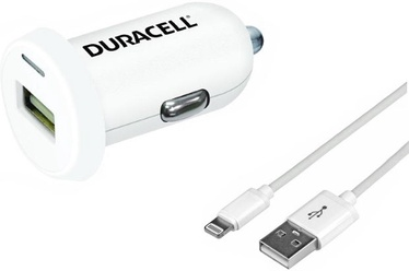 Duracell USB Plug Car Charger With Lightning 1m Cable White