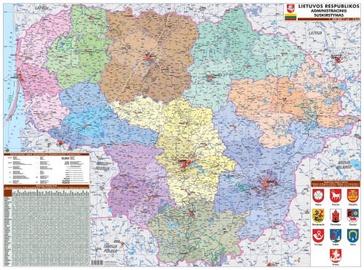Lietuvos administracinis suskirstymas, žemėlapis