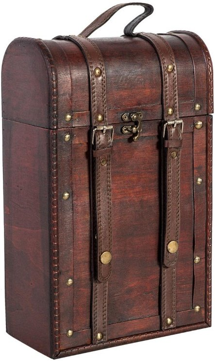 Home4you Wooden Wine Case 2x BAO 22x12xH35cm With Straps/Red