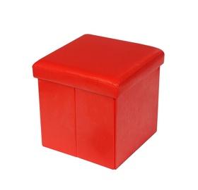 Pufas su daiktadėže, raudonas, 38 x 38 x 38 cm