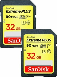 SanDisk Extreme Plus SDHC 32GB UHS-I Class 10 Pack of 2