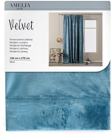 AmeliaHome Velvet Pleat Curtains Blue 140x270cm