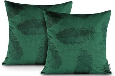 Наволочка AmeliaHome Velvet Peacock, зеленый, 450 мм x 450 мм