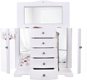 Songmics Jewelry Box With Mirror White