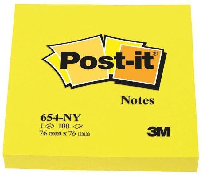 3M Post It 654-NY Sticky Notes 100pcs Bright Yellow