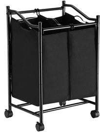 Songmics Laundry Cart 2 Bags Black