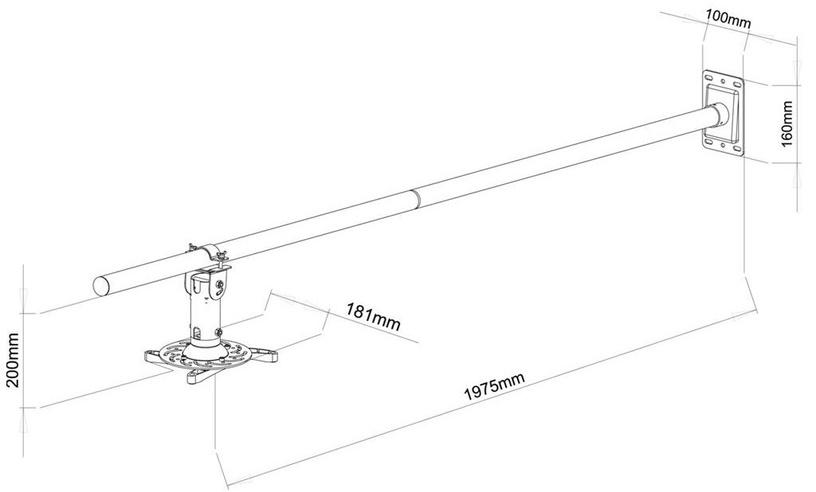 ART P-106B Wall Projector Holder 100-200cm Black
