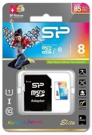 Mälukaart Silicon Power 8GB microSDHC Elite Colorful UHS-I Class 10 + SD Adapter
