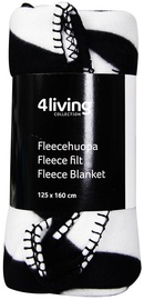4Living Fleece Blanket 125x160cm Black/White