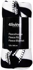 4Living Fleece Blanket 125x160cm Black/White