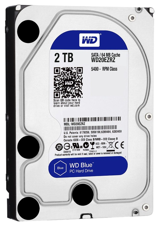 Western Digital Blue HDD 2TB 5400RPM SATA3 64MB WD20EZRZ