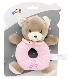 Axiom New Baby Teddy Bear Rattle Pink 16cm 4951a