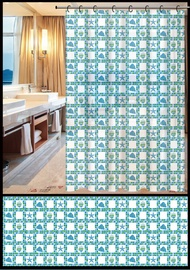 Vannas istabas aizkars Home Accents ZHY035-1, zila/balta/zaļa, 1800 mm x 1800 mm