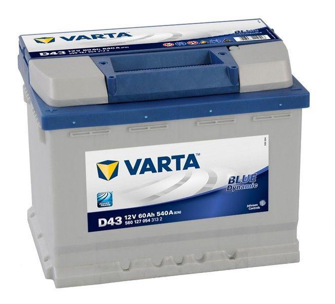 Аккумулятор Varta Blue Dynamic D43, 12 В, 60 Ач, 540 а