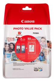 Canon PG-560XL Black and CL-561XL Colour Ink Cartridge + Photo Paper Value Pack Multipack