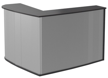 Skyland Offix New OMC 1815 Corner Reception Desk Right Legno Dark/Metallic