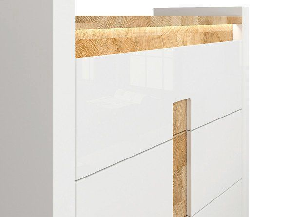 Komoda Black Red White Alameda White Oak, 97x41x96.5 cm